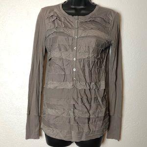 Ann Taylor LOFT long sleeve ruffle shirt blouse XS
